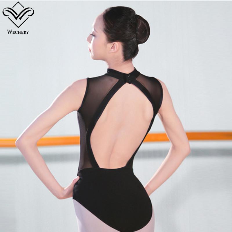 Wechery Ballet calças justas malha preta sem mangas do desgaste da dança Mulheres Ginástica Leotards Backless Bodysuits Adulto Roupa Dança