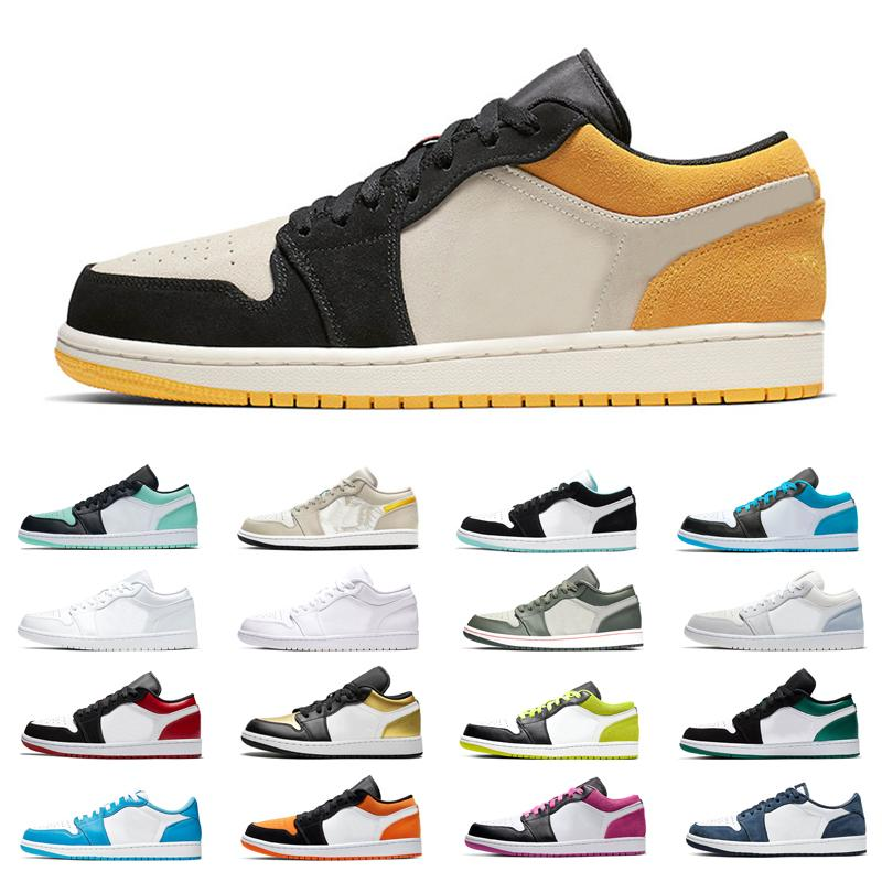 Classique Hommes Low 1s 1 Chaussures de basket de minuit marine Laser Bleu Noir Orange Cyber ​​femmes Emerald Toe Royal Fashion Shoes Sneakers