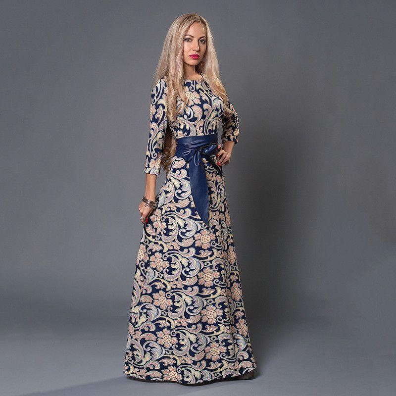 S.FLAVOR Women long Dress hot sale 2019 Spring Summer Russian Style Print Dresses Long Floor-Length Elegant Party vestidos Y190117