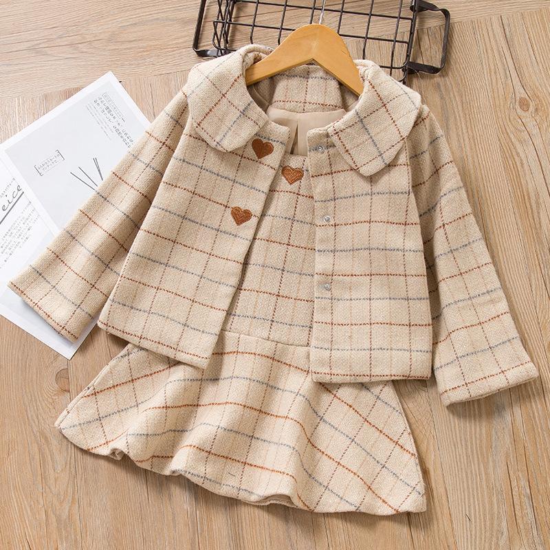 Kinder Mädchen Kleid Neue Winter Plaid Mädchen Kleider Langarm Mädchen Kleidung Top Mantel Und Strap Kleid 2 stücke Für Kinder