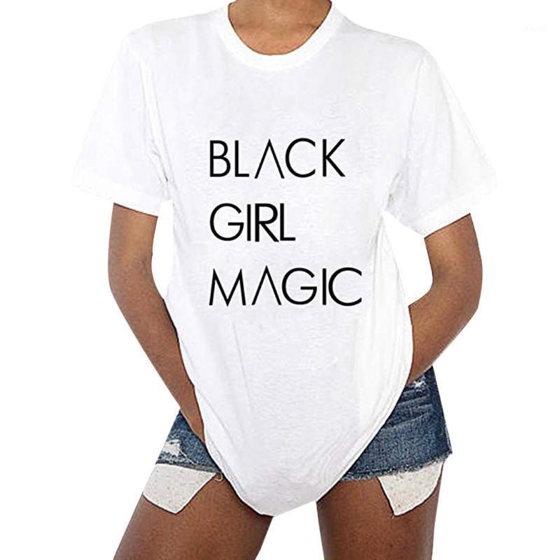 2019 preto Menina letras mágicas Imprimir Mulheres Camiseta Casual Cotton Hipster tshirts para Lady Top camisetas Mais de Size1