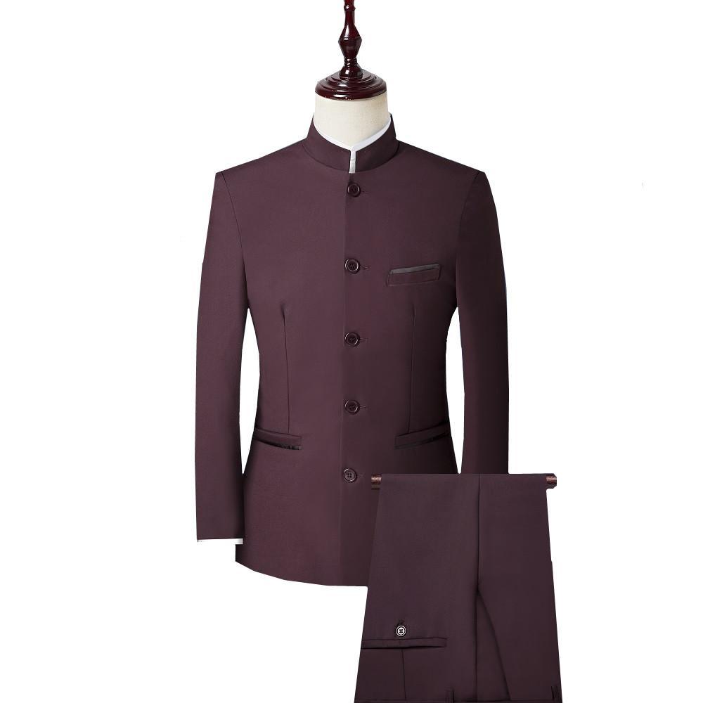 Свадебный воротник костюм мужчины китайский набор стенд тонкий костюм мужчина 3 жених подходит смокинг (куртка + брюки + жилет) кусок размер 4xl Blazer стиль плюс Beisg