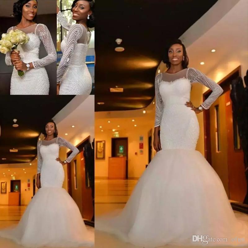 플러스 사이즈 2019 아프리카 인어 웨딩 드레스 쥬얼리 넥 긴 소매 크리스탈 페르시 진주 스윕 기차 맞춤형 정식 신부 가운