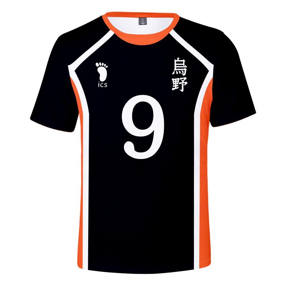 Аниме Haikyuu Косплей Футболка Мужчины Karasuno High School Hinata Сее Кагеяма Tobio Волейбол Uniform Смешной Tshirts Графический Тис