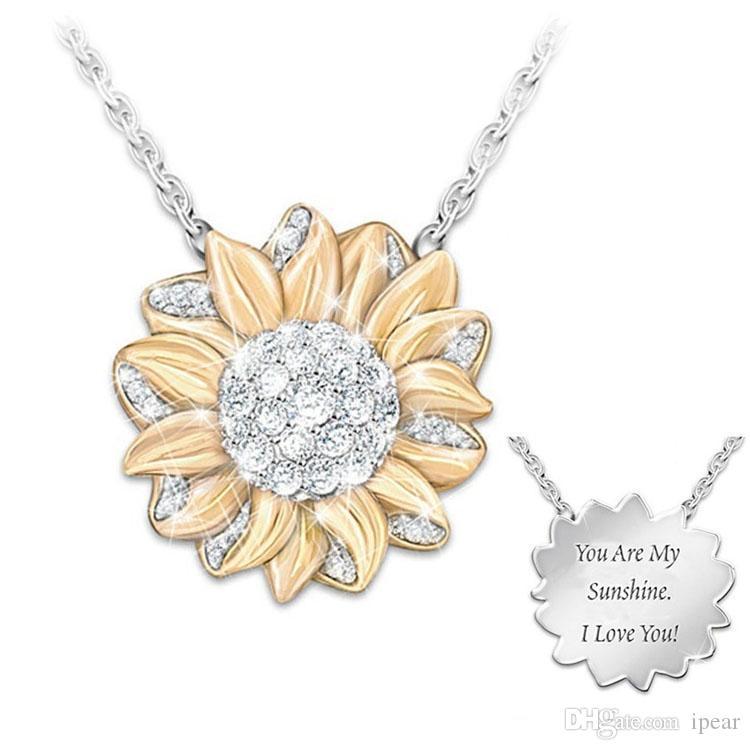 Kadın Altın Ayçiçeği kolye kolye Kişiselleştirilmiş Are My Sunshine En Arkadaşlar En İyi Kaltaklar Valentine Anneler Günü Takı Hediyeleri