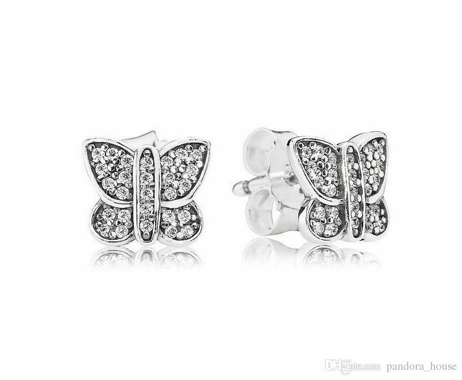 Nueva auténtico real 925 Silver Spring Pave CZ pendientes de la mariposa de Pandora 290571CZ bricolaje Jewelrynew