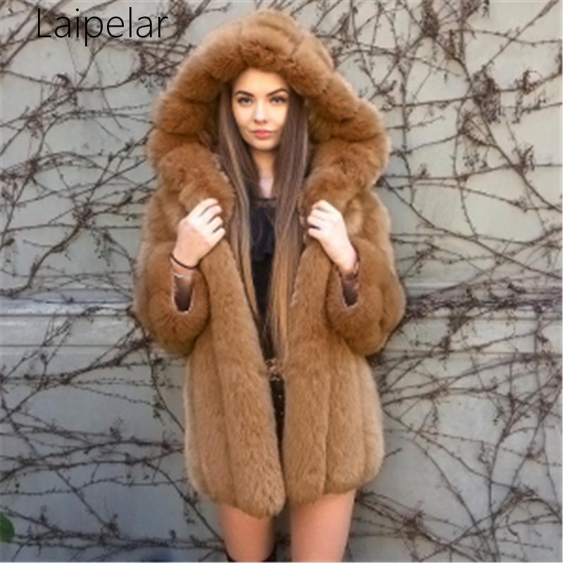 Laipelar 2020 Новый элегантный искусственного меха зимы женщин способа среднедлинная Artifical Fur Женщина Теплый Поддельный пальто Женский