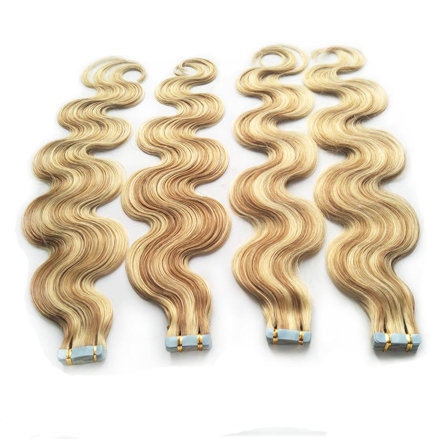 P27/613 Piano Color Remy Tape In Human Hair Extensions Straight Body Wave 18 20 22 24inch Blonde Skin Weft Seamless Hair Extensions 100g