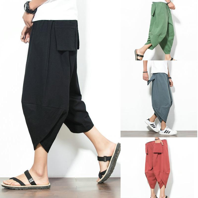 Estilo simple M-4XL pantalones del verano de los hombres del tamaño extra grande para hombre Pantalones respirables flojos sólidos Males sport del color Harem-Pants todas correspondan 2020