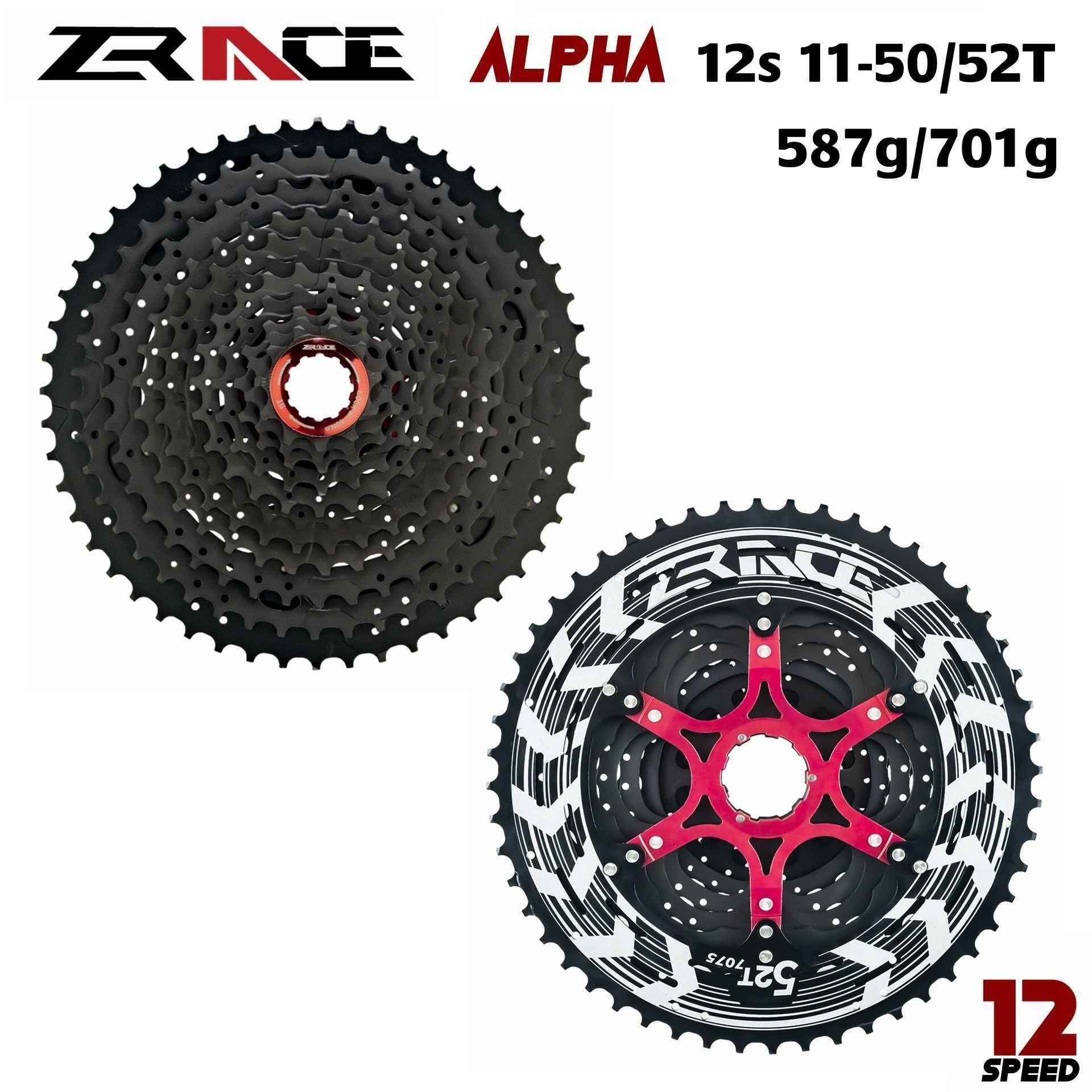 ZRACE Alpha 12s Lightweight Cassette 12 Speed MTB bike freewheel 11-50T / 11-52T - Black,compatible M9100 / XX1 X01 GX NX Eagle