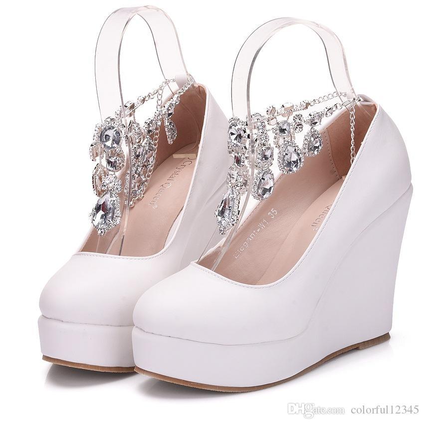 Scarpe Da Sposa Con Zeppa Alta.Acquista Crystal Queen Cinturino Alla Caviglia Con Zeppa Alta
