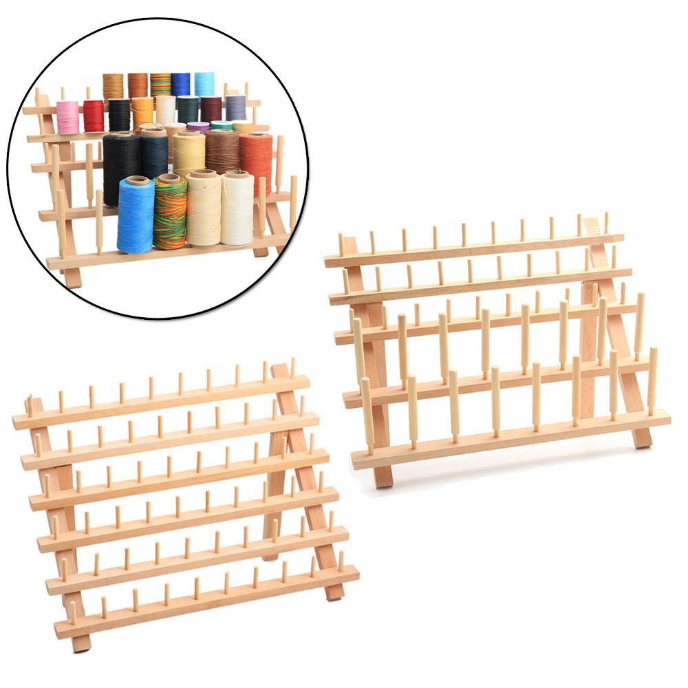 60PCS Spool Wood Sewing Thread Stand Organizer Embroidery Storage Rack Holder