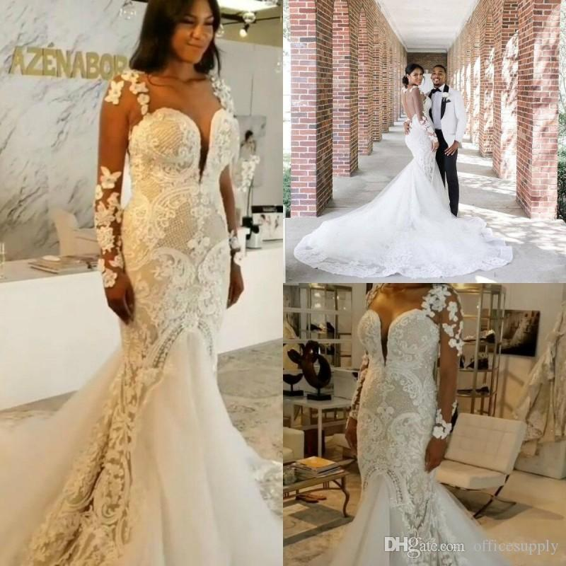 Plus Size Mermaid Wedding Dresses 2020 Lace Appliqued Sequins Sweetheart Beach Bridal Dress Sweep Train Long Sleeves Country Wedding Gowns Australia