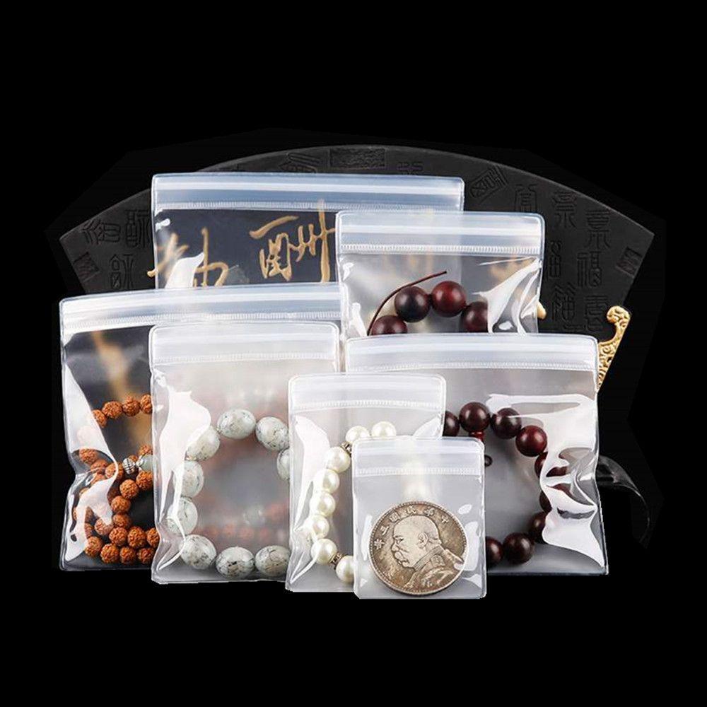 100 unids Zipper Resellable EVA Pack Bag para la pulsera de joyería Bolsa de embalaje de autoal sello antioxidación Bolsa de plástico ecológico claro