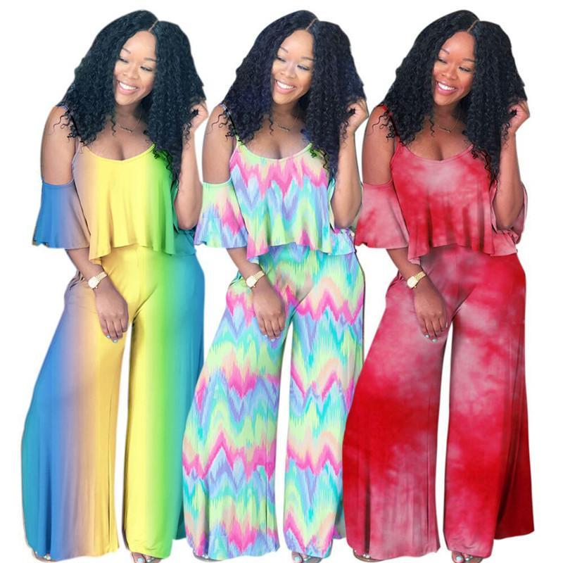 Kadın Iki Parçalı Takım V boyun T gömlek Kısa Kollu Kapalı Omuz Tops + Falbala Pantolon Pantolon Kıyafet Bohemian Tasarımcı Eşofman Yaz Giydirin