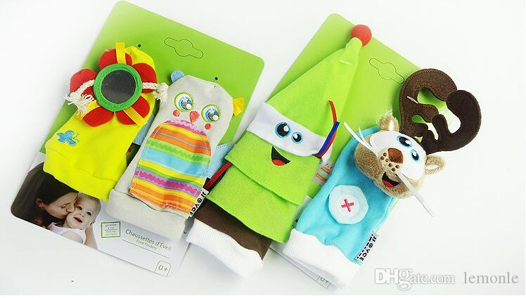 Infante recém-nascido dos desenhos animados macio Rattle Meias Set Infant presentes Rattle Appease Brinquedos 100pairs