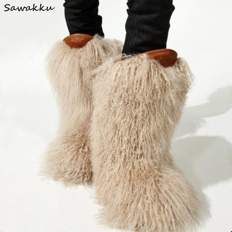 2019 New Winter Women Snow Boots Bianco Nero pelliccia peloso Ginocchio Botas Mujer unico Runway Style Flats caldi svegli di scarpe da donna