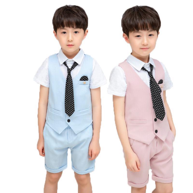 Okul Çocuklar Doğum Elbise Örgün Düğün Smokin Suit Mezuniyet Kostüm Centilmen Boys Yaz Yelek + Şort + Kravat Giyim Seti