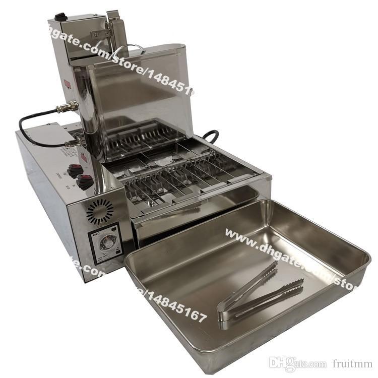 Бесплатная доставка 4шт / Row Heavy Duty нержавеющей стали 110v 220v Электрический Автоматизированный Mini пончик пончик создателя машины Фритюрницы