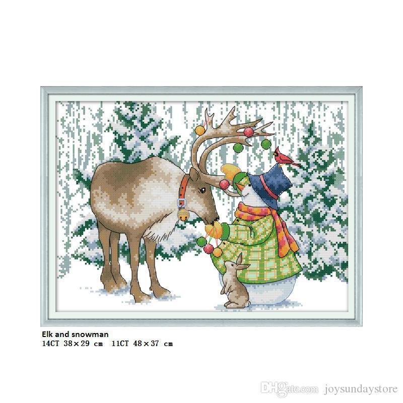 Elk e boneco de neve home decor pinturas contados impresso na lona dmc 11ct 14ct diy feito à mão kits de ponto-cruz bordar