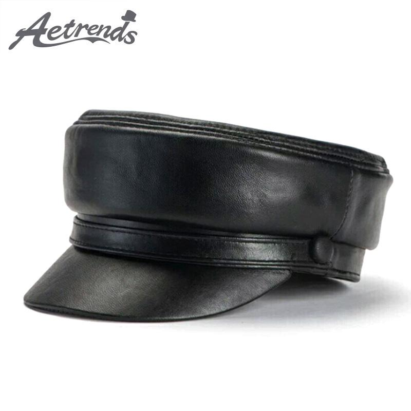 [AETRENDS] 2019 New Genuine Leather Newsboy Cap Men Hat Women's Hat Leather Newsboy Hats for Women Man Gorro Muts Chapeu Z-6714