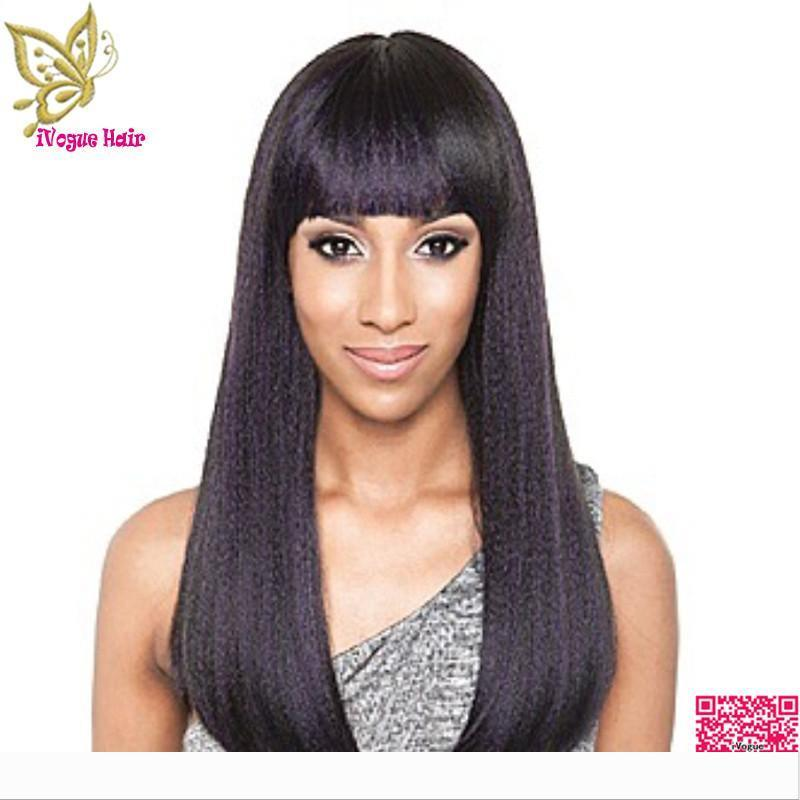 Virgin Brazilian Yaki Straight Lace Front Wigs Human Hair With Full Bangs Unprocessed Remy Human Hair Full Lace Wigs Grade 7A