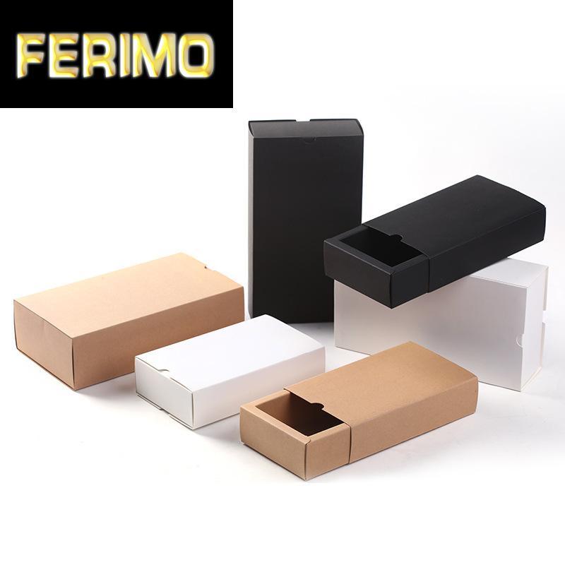 Caixa de presente de papel Kraft 5pcs Brown Black capina partido Box DIY Soap favores dos Namorados aniversário Packaging presente do dia