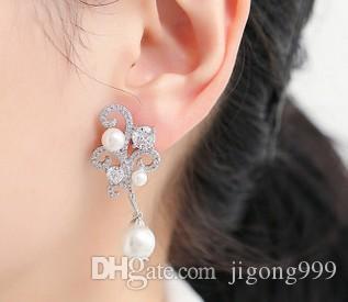 멋진 925은 더 많은 컬러 다이아몬드 크리스탈 진주 여성의 earigns (22.28 ghfg