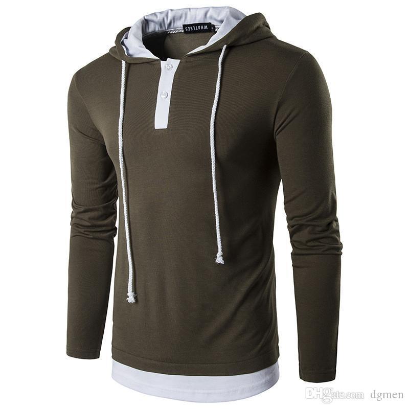 Panelled Mens Designer hoodies casuali a due pezzi falso coulisse Mens hoodies di modo Pullover pulsante Maschi Abbigliamento