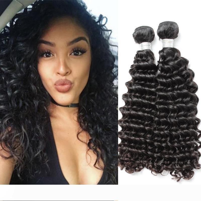 Marka Orjinal Saç! 2adet Lot 9A Derin Dalga İnsan Saç Paketler 10-24 İşlenmemiş Brezilyalı Saç Uzantıları julienchina bella Ücretsiz Kargo