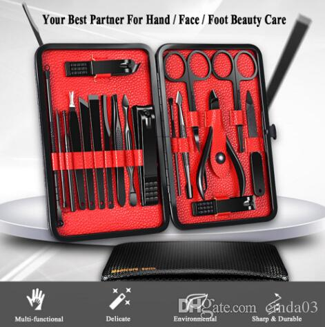 18Pcs 프로 매니큐어 세트 도구 모든 연장을위한 손톱 클리퍼 페디큐어 세트 키트 유틸리티 가위 트위터 나이프 네일 아트 도구 키트