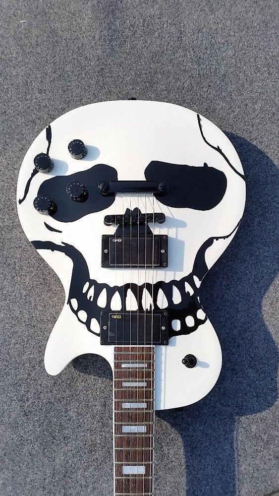 Branco crânio padrão de 6 cordas da guitarra elétrica, serviço personalizado