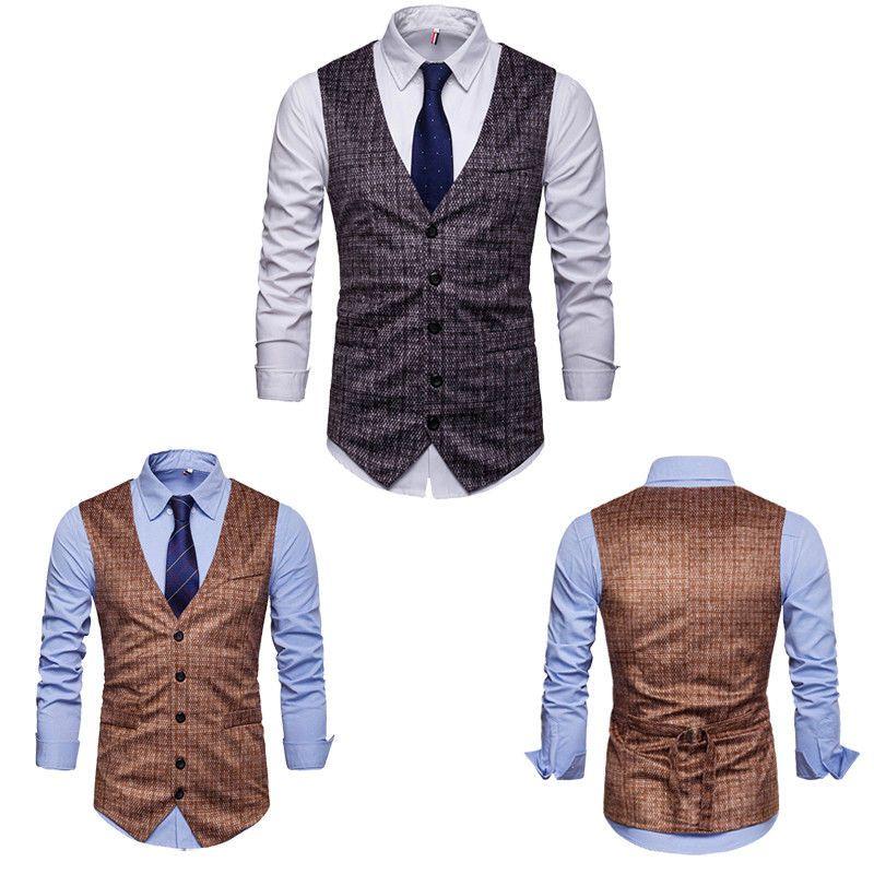 2019 uomini di modo caldo di nuovo stile di formale di business Slim Fit vestito della maglia del tasto smoking Gilet V Neck Vest