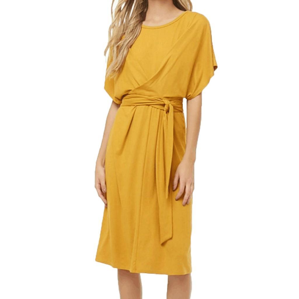 Abito estivo 2019 Abito casual da donna casual tinta unita lungo con scollo a V manica corta giallo Sexy Clun abiti da fasciatura