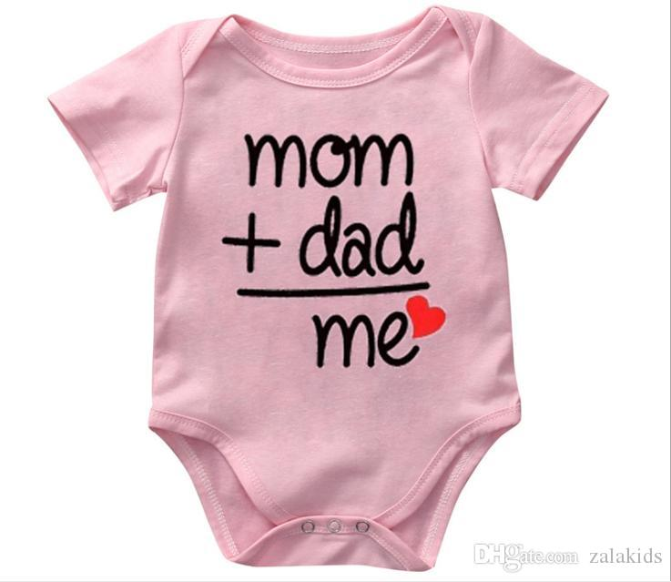 Cute Baby Jumpsuits infant Onesie Bodysuit Newborn MOM+DAD Letter print cotton Rompers Baby boy Girl clothes 2019 Summer Cheap Wholesale