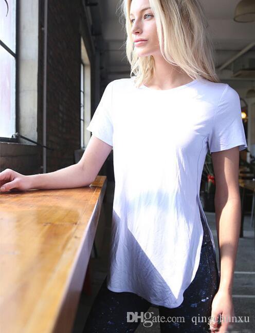 Yoga Shirt Fitness Top anteriore e posteriore a fessura traspirante manica corta t shirt da donna allenamento supera per le donne della palestra di sport Abbigliamento