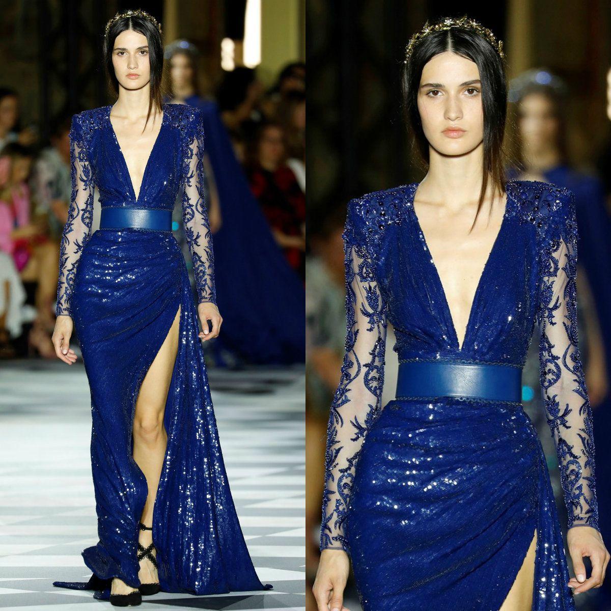 Sirena con lentejuelas sexy vestidos de baile 2019 Zuhair Murad azul de manga larga con cuentas del muslo de las aberturas altas noche vestido de cóctel batas de tan
