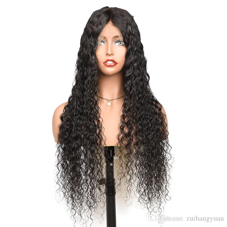 Cheveux Vague Perruque Lace Front perruques de cheveux humains 180 Densité brésilienne humide et onduleux Pré plumé 360 Lace Frontal perruque