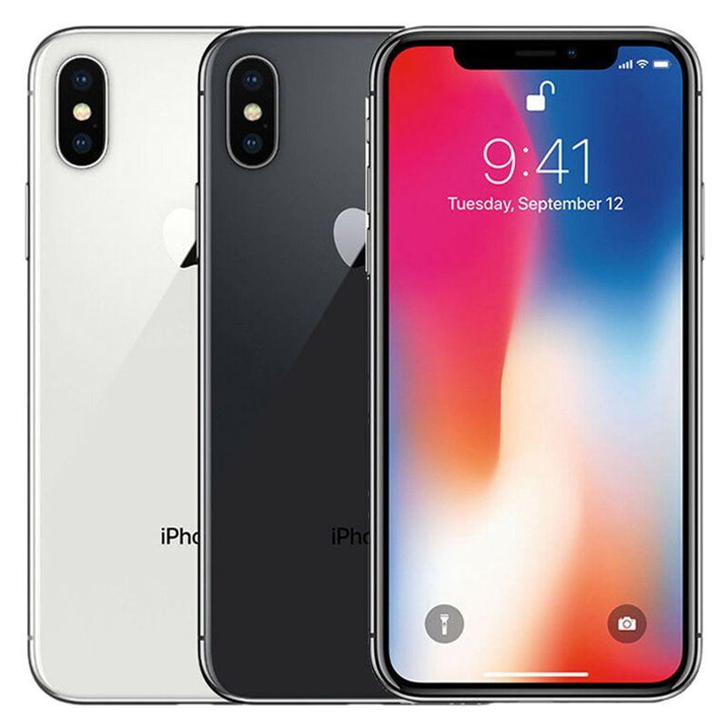 Refurbished Original Apple iPhone X 5.8 inch A11 Bionic iOS Hexa Core 3GB RAM 64GB 256GB ROM 12MP Camera Unlocked Smart Phone Free DHL 1pcs