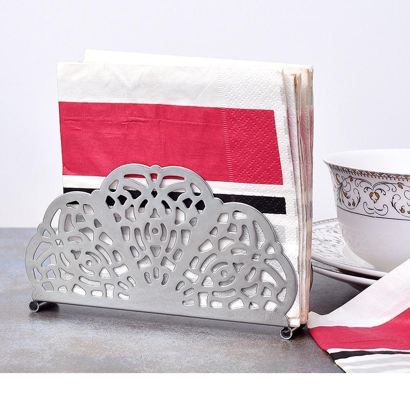 5 piezas estilo Retro de acero inoxidable servilleta titular ventilador forma papel toalla soporte cocina herramienta envío gratis