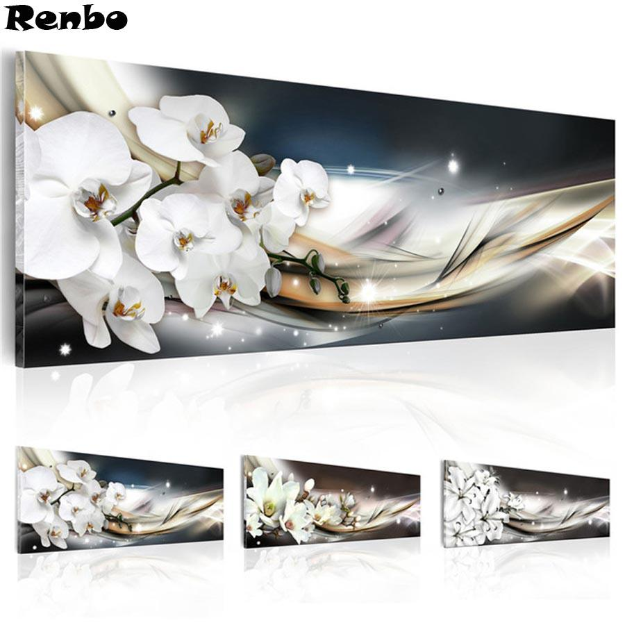 Renbo 5D DIY Diamond Painting White orchid flowers Full Square Rhinestone Pictures Embroidery Diamond Mosaic Cross Stitch Decor