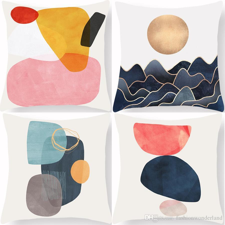 Coussin Aquarelle Pierre Covers décor coloré géométrique couleur frais doux oreiller cas 45x45cm Canapé Chaise Décoration