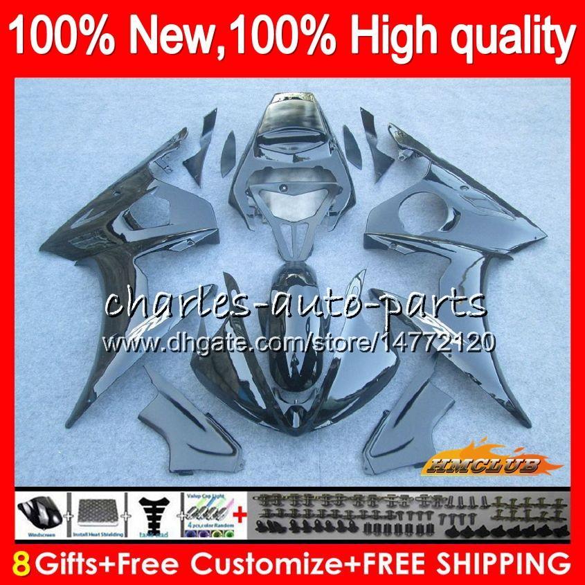 ヤマハYZF600 YZF 600 R 6 600CC YZF R6光沢ブラック03-05 59HC.11 YZF-R6 YZF-600 YZFR6 03 04 05 2003 2004 2004フェアリング+ 8ギフト
