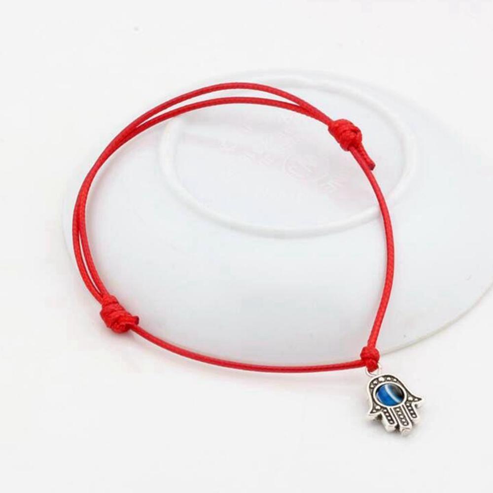venta caliente! 100pcs Hamsa mano de perlas de mal de ojo rojo afortunado del color de la cera de la cuerda pulseras espirituales Protección éxito