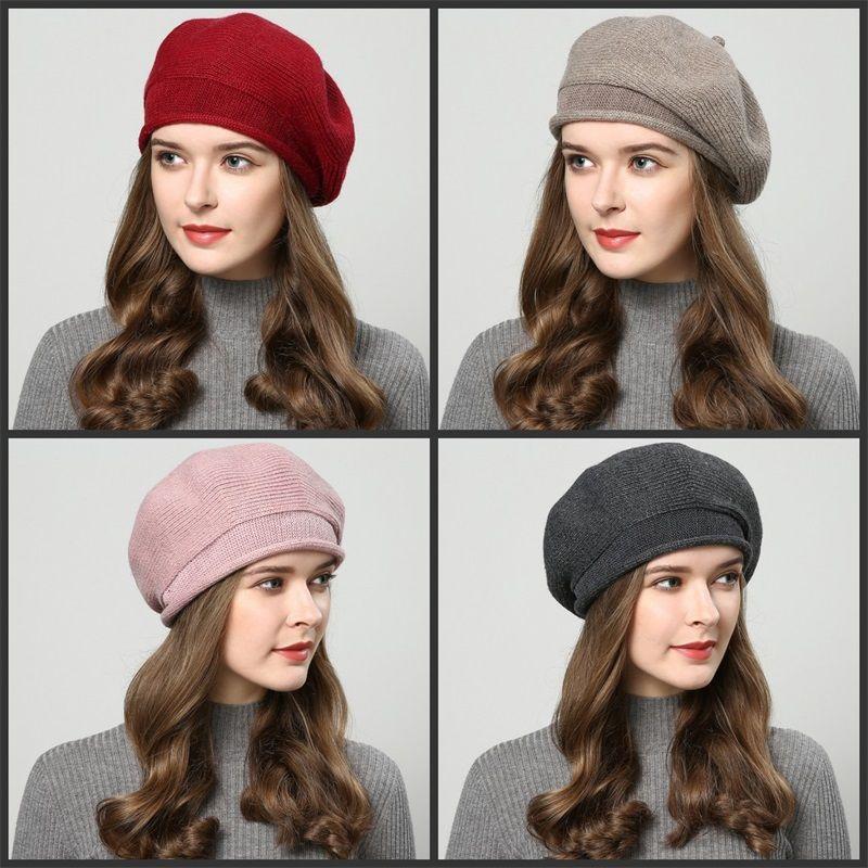 Winter Women Beret Keep Warm Beanie Ear Protectors Clown Knitted Hat Cotton Edge Curl Red Black Durable 15 04xq C1