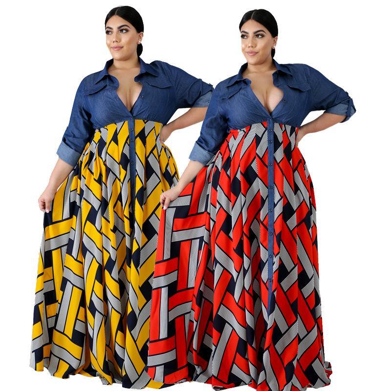 Verano estilo retro europeo y nacional vestido de gran oscilación del V-cuello básico de las mujeres estadounidenses