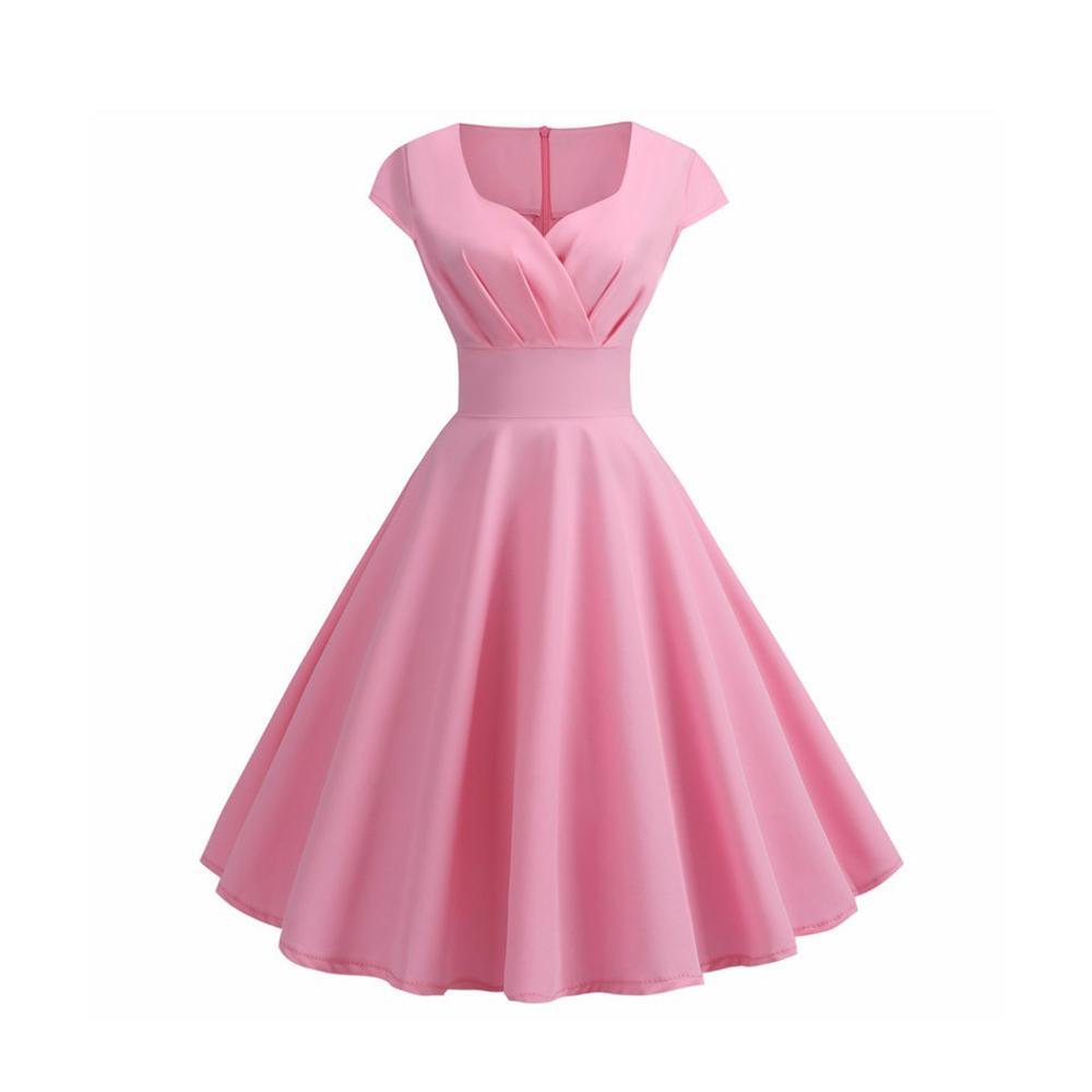 Розовое летнее платье женщины V образным вырезом большие качели винтажное платье Robe Femme элегантный ретро pin up Party Office Midi платья плюс размер