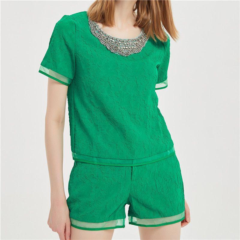 2018 Chegada Nova Moda ternos femininos sexy O-Neck Blusas camisas com calças Conjuntos de manga curta Casual Two Pieces Mulheres Beading