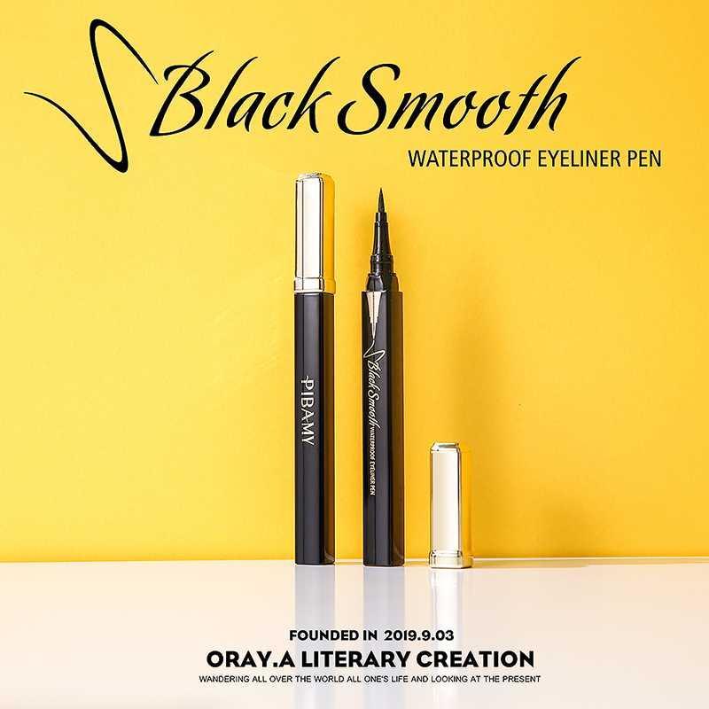 Negro de secado rápido Delineador de ojos a prueba de agua a prueba de sudor Larga duración Fine Eyeliner No Blooming Q1 maquillaje