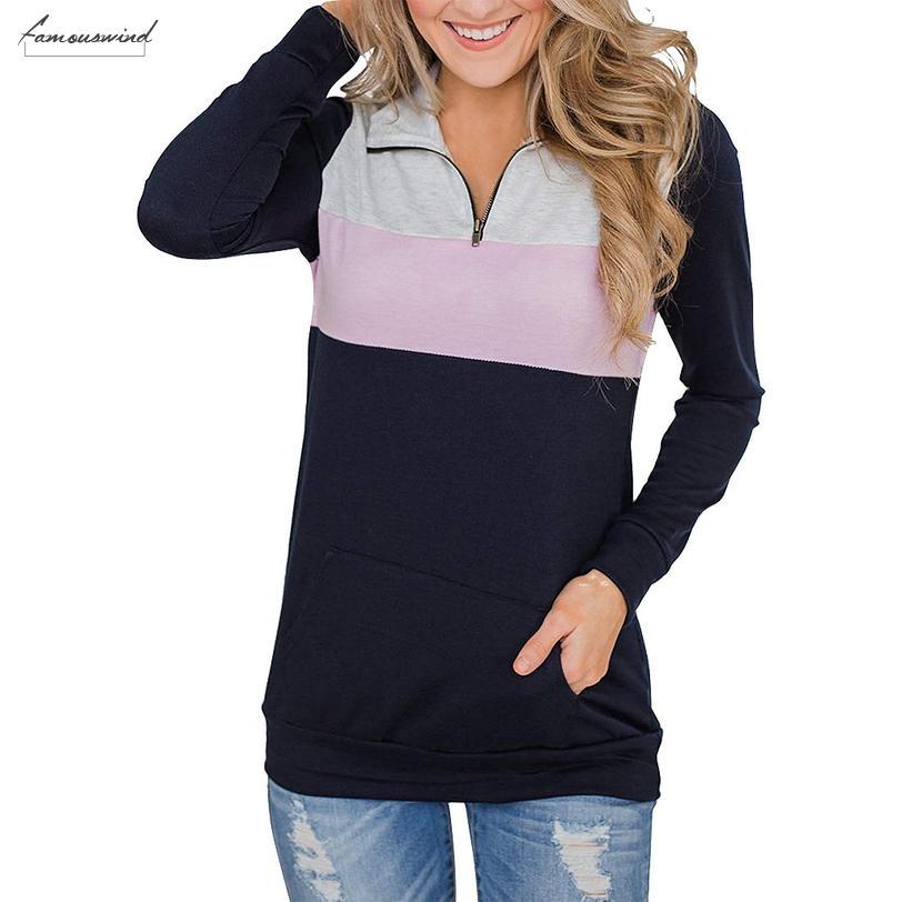 Donna Autunno Camicetta Zip Color Block manica lunga tunica Felpa parti superiori della tasca della rappezzatura Camicetta invernali delle ragazze delle signore 802